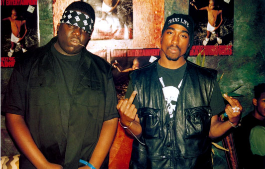 Рэпперы Notorious B.I.G. и Tupac Shakur