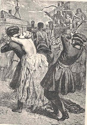 Наказание княгини Натальи Лопухиной в 1743 году. Обвиненную в заговоре, ее секли и, вырвав язык, сослали в Сибирь.