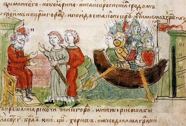 Аскольд и Дир, просящие у Рюрика в Новгороде разрешения на поход в Царьград; прибытие Аскольда и Дира на кораблях с дружиной к Киеву.