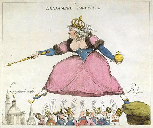 «Имперский прыжок». Французская карикатура на Екатерину II, обсуждавшую возможность захвата Константинополя и возрождения Византийской империи. 1792 год