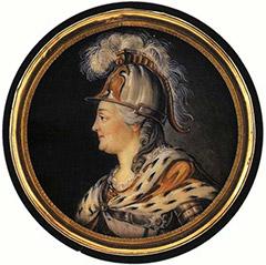 Екатерина II в образе Минервы. Миниатюра Шарля Ришара. 1789 год