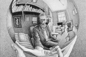 Литография «Рука с зеркальной сферой»