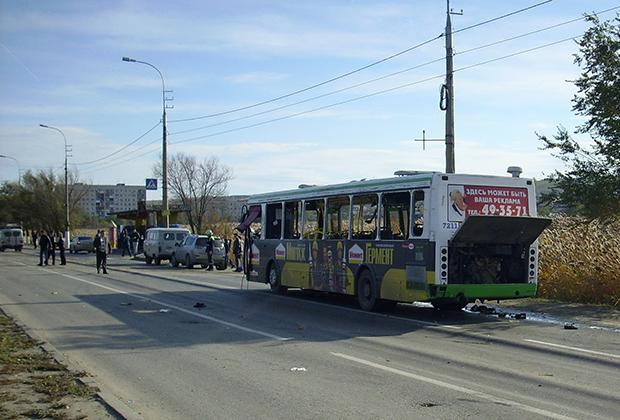 Автобус, взрованный в Волгограде 21 октября 2013 года