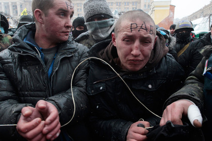 Пойманные активистами «Евромайдана» «титушки»