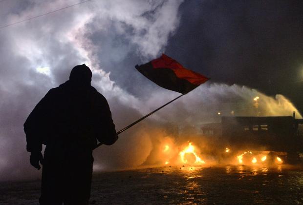 Протестующий в центре Киева, 20 января 2014 года