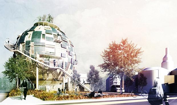 Проект The Oil Silo Home датского архитектурного бюро Pinkcloud по превращению нефтехранилищ в «зеленые» жилые дома