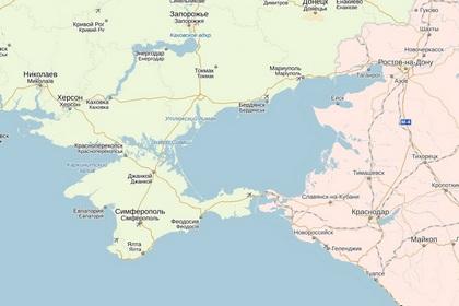 Крым на «Яндекс.Картах» по состоянию на утро 22 марта 2014 года