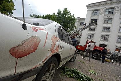 Здание обладминистрации в Луганске, 2 июня 2014 года