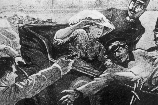 Иллюстрация убийства  Франца Фердинанда и графини Софии, 28 июня 1914 года
