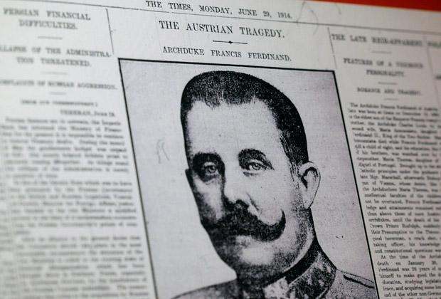 Первая полоса лондонской газеты от 29 июня 1914 года