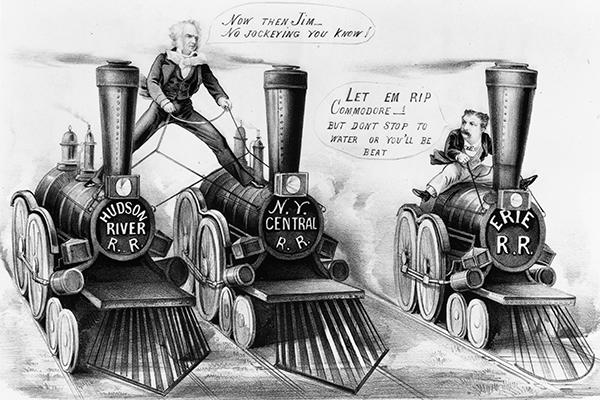 Корнелиус Вандербильд конкурируетс Джимом Фиск за контроль над железной дорогой «Эри»