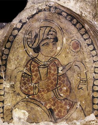 Халиф с бокалом вина. Фреска из бани в Фустате (Каир). XI век