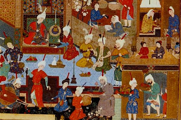 Мир Сеид Али. Вечерняя жизнь дворца. Иллюстрация к «Хамсе» Низами (XVI век)