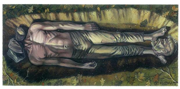 Захоронение из Цедыни (реконструкция художника)
