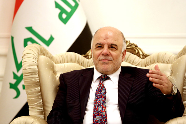 Iraqi Prime Minister Haider al-Abadi, speaks during a meeting with German's Foreign Minister Frank-Walter, in Baghdad, Iraq, Saturday, Aug 16, 2014.