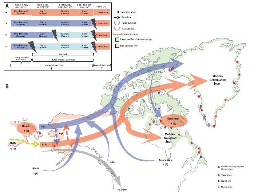 Карта миграции эскимосских культурных общностей