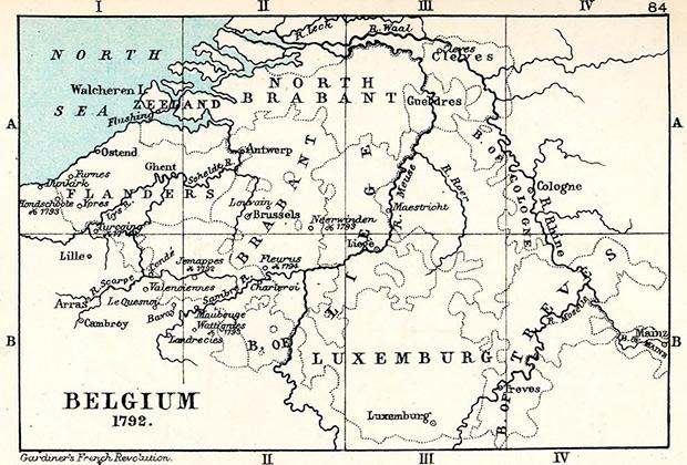 Территория Бельгии, 1792 год