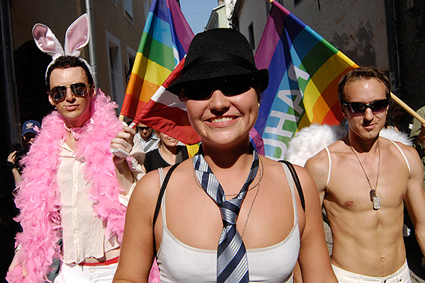 Participants of a gay pride parade march in the Estonian capital Tallinn's Old Town on Saturday, Aug. 11, 2007. Estonia saw an attack against the participants of a gay pride parade last year.(AP Photo/NIPA, Timur Nisametdinov)
