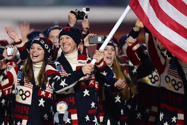 Американская сборная на церемонии открытия XXII зимних Олимпийских игр в Сочи. В форме от Ralph Lauren.