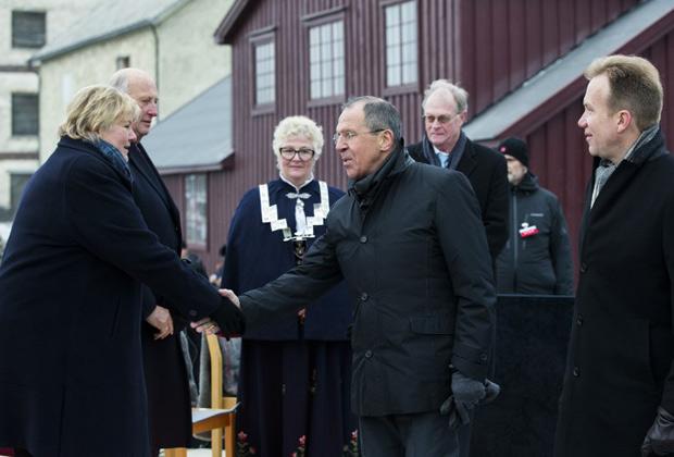 Премьер-министр Норвегии Эрна Солберг и Сергей Лавров