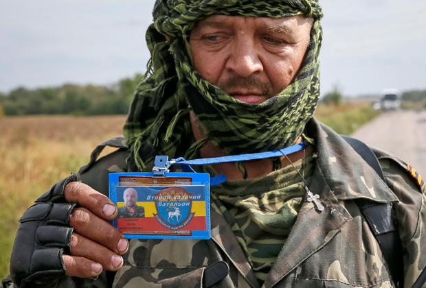 Боец казачьего батальона в Луганской области, 10 сентября 2014 года