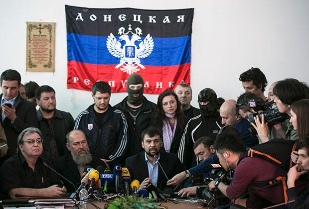 Денис Пушилин на пресс-конференции в Донецке.