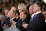 Владимир Путин, Ангела Меркель и Петр Порошенко в Нормандии