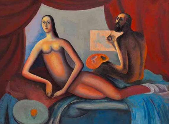 Николай Любушкин, «Портрет с женой», 1970-е. Коллекция В. Егорова.