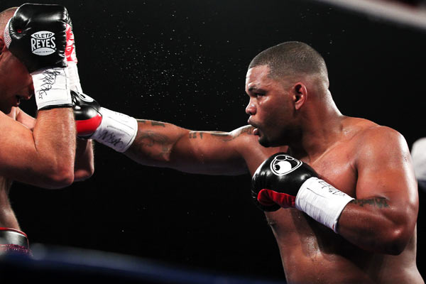 02 NOV 2013: Mike Perez during the fight against Magomed Abdusalamov at the Theater at Madison Square Garden. Mike Perez beat Magomed Abdusalamov in a 10 round decision. Both heavyweights entered the fights undefeated.