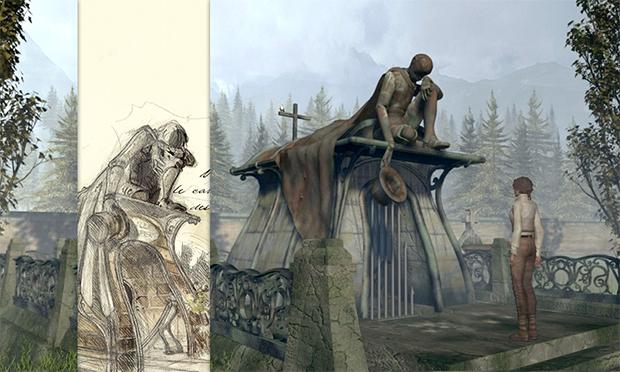 Сцена из игры Syberia и официальный эскиз к ней