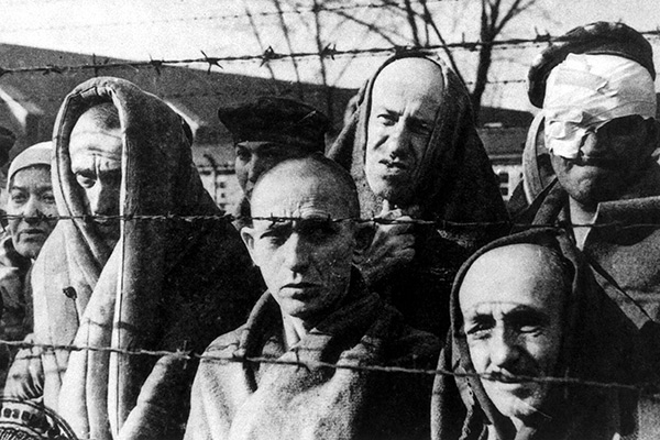 Mandatory Credit: Photo by REX (213548d) JEWISH PRISONERS AT AUSCHWITZ CONCENTRATION CAMP CONCENTRATION CAMPS AND NAZI GERMAN ATROCITIES IN WORLD WAR II
