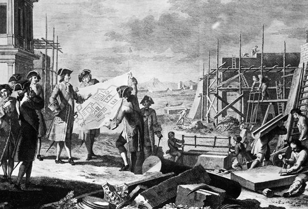 Петр I контролирует строительство здания в Санкт-Петербурге, гравюра XVIII века