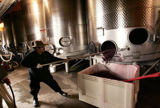 А вот в США босиком и с песнями виноград уже давно не отжимают
