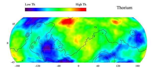 Распределение тория на Марсе (по данным зонда «Марс Одиссей»)