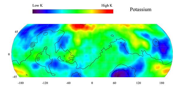 Распределение калия на Марсе (по данным зонда «Марс Одиссей»)