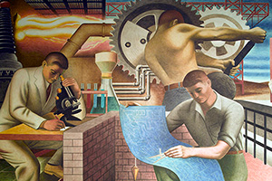 New Deal / Treasury Section of Fine Arts. Seymour Fogel, WPA mural from the Cohen Building (formerly housing the Social Security Board Building) in Washington, D.C., 1942. Fogel's murals were painted to express the meaning of Social Security. Shows the advances of American science and industry, including a chemist looking into a miscroscope, the production of electricity, an architect holding a blueprint, a worker at large industrial gears, and laborers going to work at a factory.