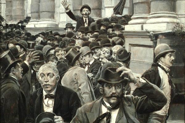 Фрагмент иллюстрации Говарда Пайла «Паника на Нью-Йоркской фондовой бирже 18 сентября 1873 года»