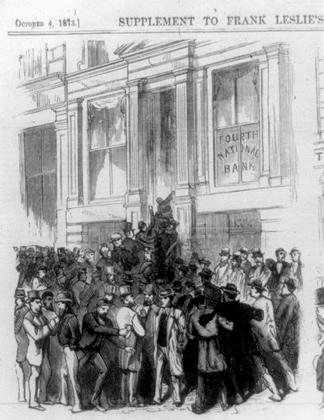 Паника в банке. Газетная иллюстрация Фрэнк Лесли, 4 октября 1873 года