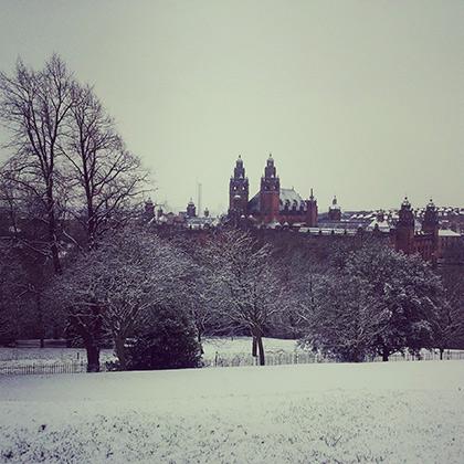 Зимний вид с холма на Университет