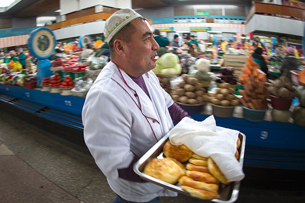 A vendor at the Green Bazaar in Almaty January 23, 2015
