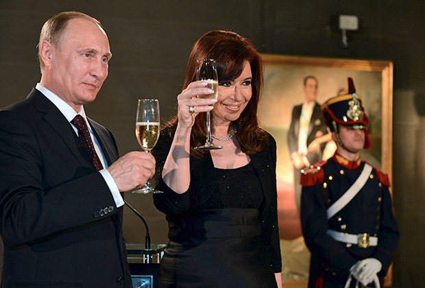 Кристина Киршнер и Владимир Путин в Буэнос-Айресе, 2014 год