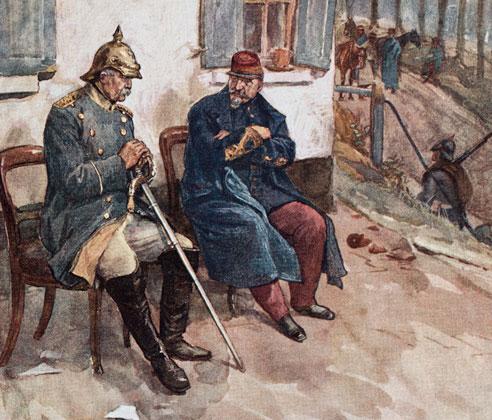 Встреча Бисмарка с Наполеоном III в 1870 году. Рисунок XIXвека