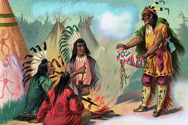 1885 --- Original caption: Indian showing a string of wampum to his friends. Lithograph. Undated. --- Image by © Corbis
