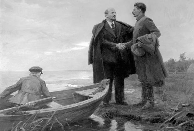 В.И.Ленин и И.В.Сталин в Разливе. 1917 г. Картина художника П.Розина