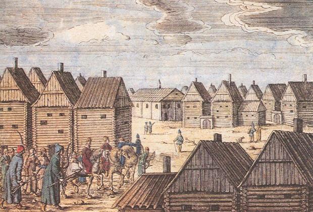 А. Олеарий. Московские улицы. 1643 год.