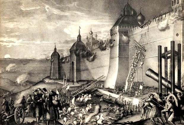 Осада Троицкой Лавры в 1608 году. Литография 1852 года
