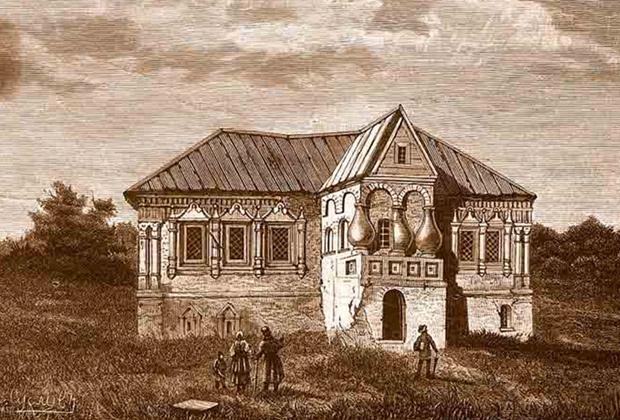 Дом в Калуге, где жили Лжедмитрий II и Марина Мнишек. Гравюра М. Рашевского по рис. И. Суслова. 1884 год