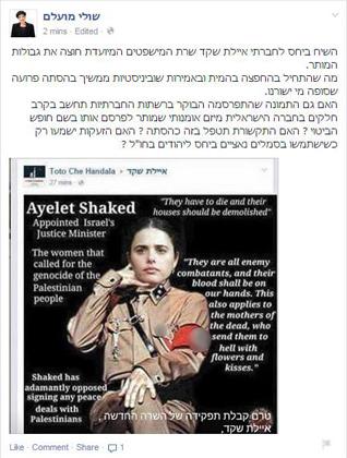В соцсетях появился фотоколлаж, где Шакед изображена в нацистской форме