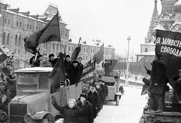 Демонстрация в Москве в честь революции