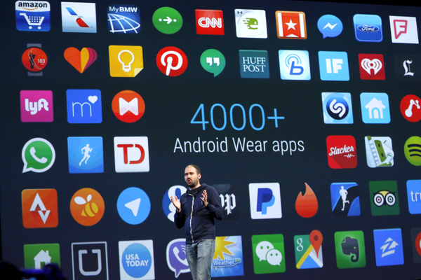 David Singleton, Director of Android Wear, speaks during the Google I/O developers conference in San Francisco, California May 28, 2015.